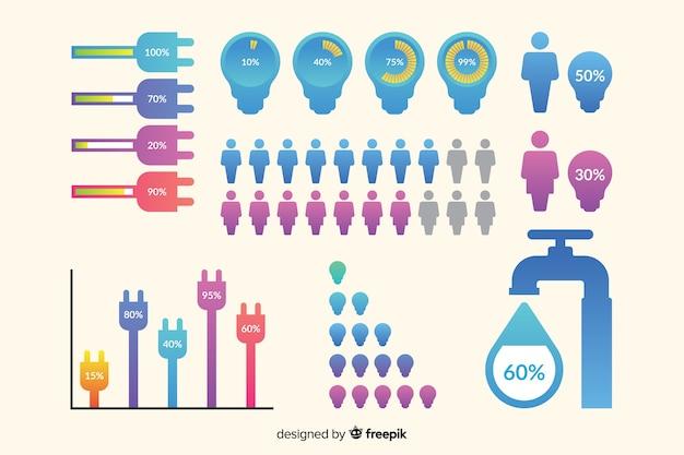 Modèle de collection d'éléments de développement infographique