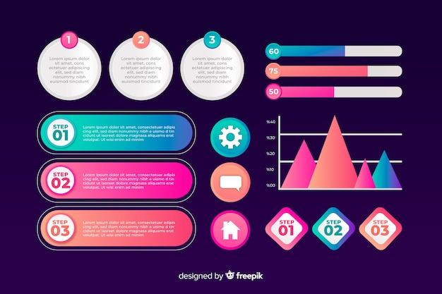 Modèle de collection d'éléments de marketing infographique