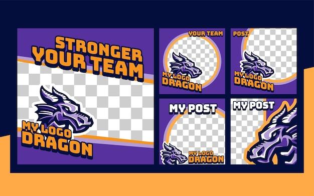 Modèle de collection d'ensembles de publications instagram d'événement sportif dragon e