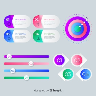 Modèle de collection d'étapes d'infographie