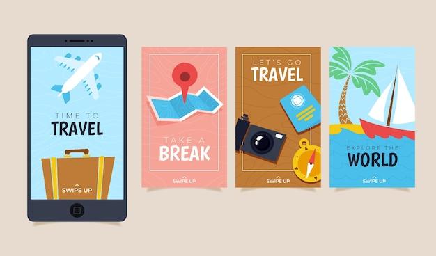 Modèle de collection d'histoire de voyage instagram