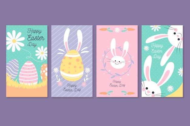 Modèle de collection d'histoires instagram de jour de pâques