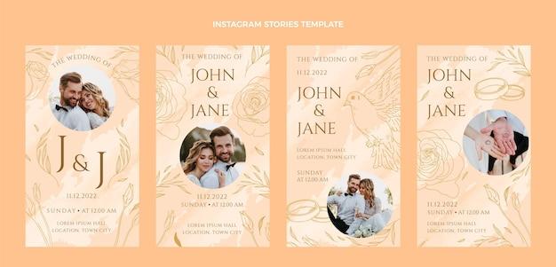 Modèle de collection d'histoires de mariage instagram