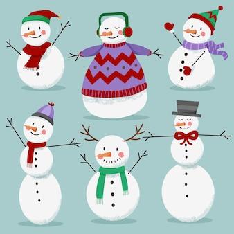 Modèle de collection hiver bonhomme de neige blanc