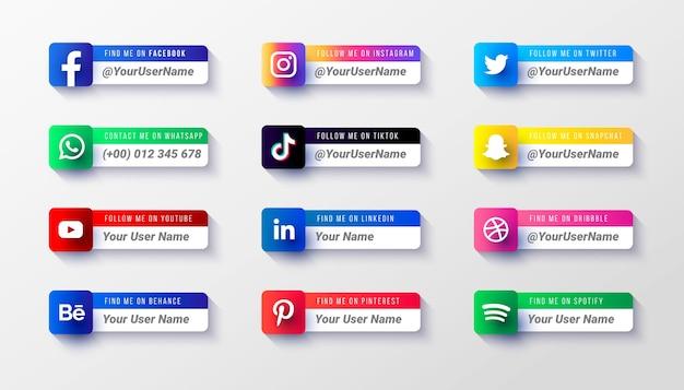 Modèle de collection d'icônes du tiers inférieur des médias sociaux modernes