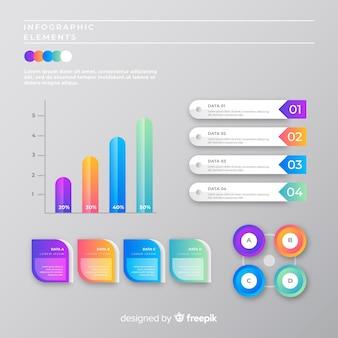 Modèle de collection infographique marketing