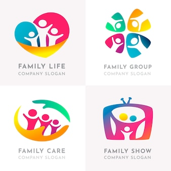 Modèle de collection de logo familial