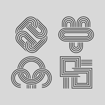 Modèle de collection de logo linéaire linéaire abstrait