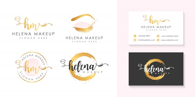 Modèle de collection de logo de maquillage helena.