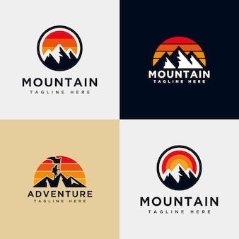 Modèle de collection logo montagne
