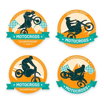 Modèle de collection de logo de motocross