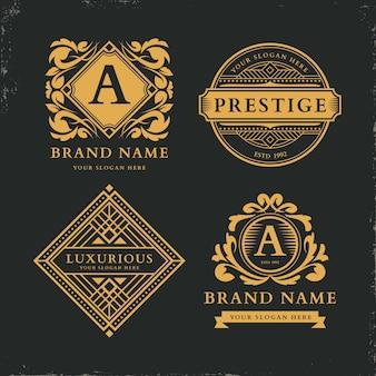 Modèle de collection de logo rétro de luxe