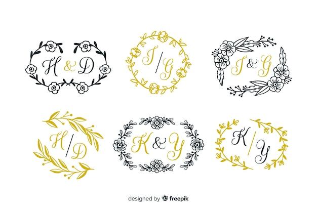 Modèle de collection mariage de gravure