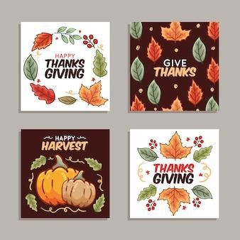 Modèle de collection de messages instagram dessinés à la main de thanksgiving