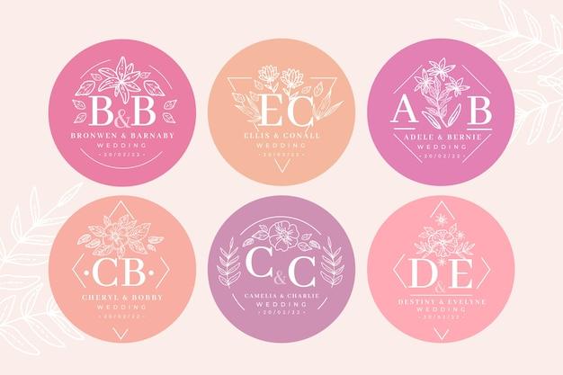 Modèle de collection de monogramme de mariage floral