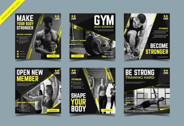 Modèle de collection de post instagram de gym