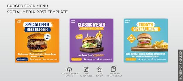 Modèle de collection de poste de bannière carrée alimentaire menu burger