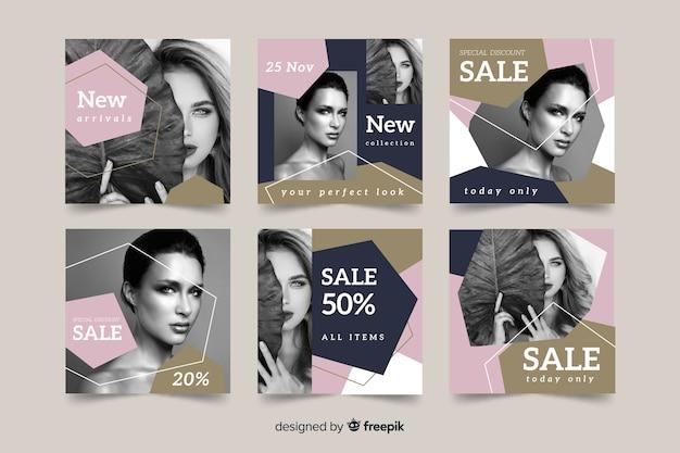 Modèle de collection de publications instagram avec photo