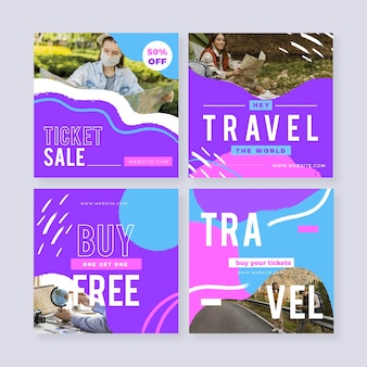 Modèle de collection de publications instagram de voyage