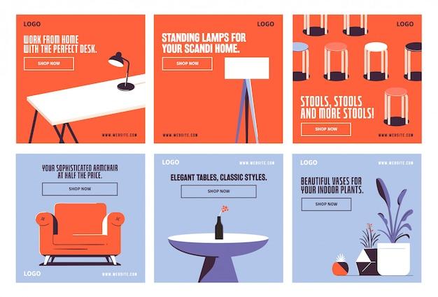 Modèle de collection de publications de médias sociaux de décoration de meubles