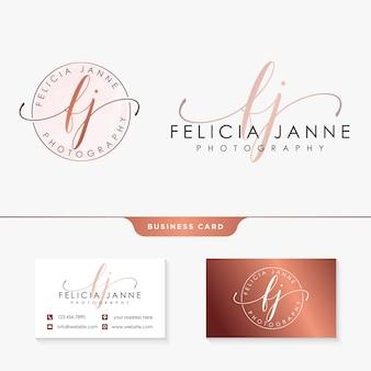 Modèle de collections initiales logo lj féminin