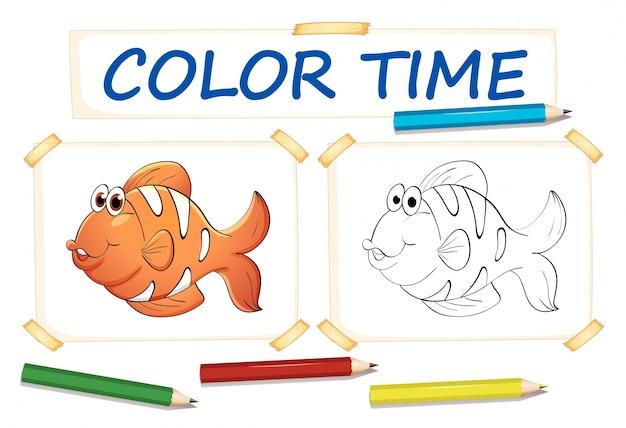 Modèle de coloration avec poisson clown