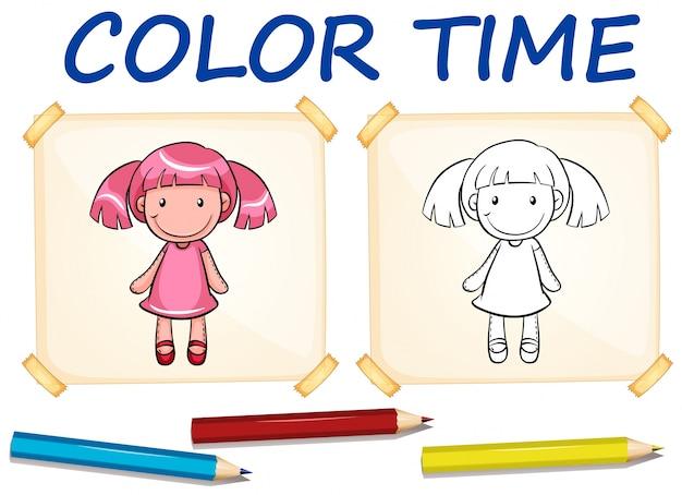 Modèle De Coloration Avec Une Poupée Mignonne Vecteur gratuit
