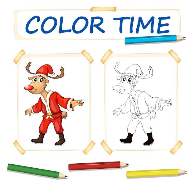 Modèle de coloration avec rennes en tenue de père noël