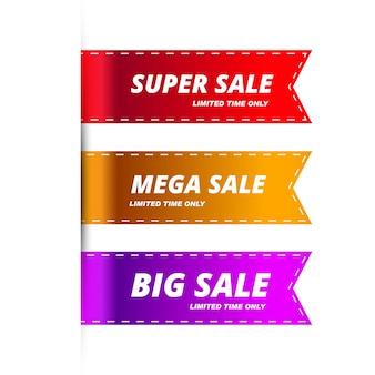 Modèle coloré de bannières de vente moderne