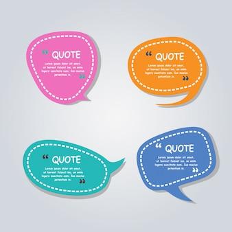 Modèle coloré de bulles de bulles de discours moderne