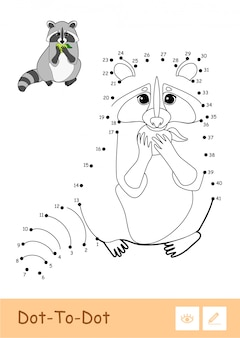 Modèle coloré et contour incolore raton laveur point à point mangeant une pomme isolée sur fond blanc. enfants sauvages enfants d'âge préscolaire, illustrations de livres à colorier et activité de développement.