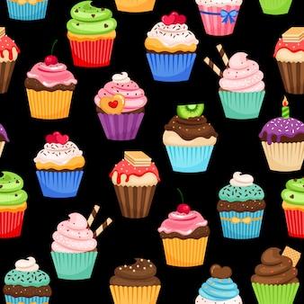 Modèle coloré de cupcakes sucrés sur fond noir.