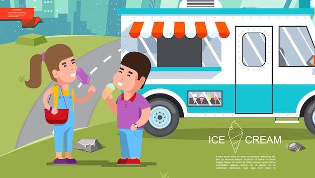 Modèle coloré d'été de crème glacée plate