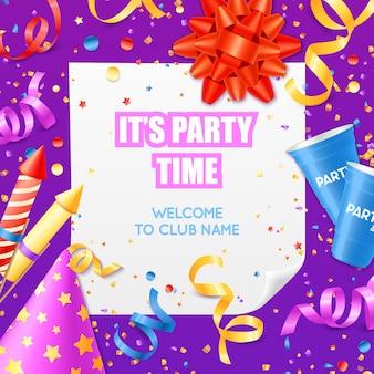 Modèle coloré festif d'invitation d'annonce de fête