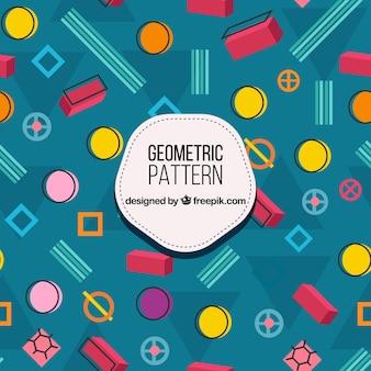 Modèle coloré avec des formes géométriques dessinées à la main