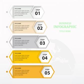 Modèle coloré infographique cinq élément ou étape.