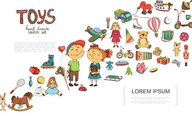 Modèle coloré de jouets de croquis