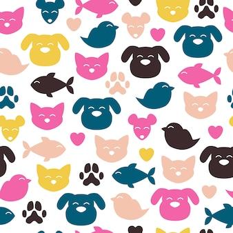 Modèle coloré de joyeux animaux domestiques