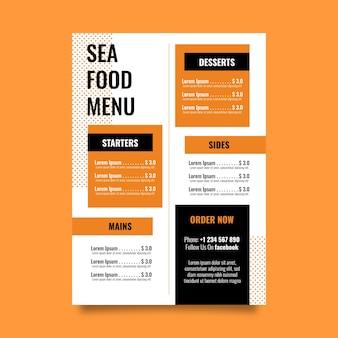 Modèle coloré de menu de restaurant