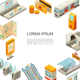 Modèle coloré de métro isométrique avec billets de transport de plate-forme de station de métro train atm tunnel cabine de sécurité escalator tourniquets carte de navigation
