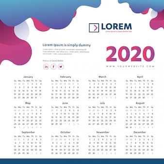 Modèle coloré mur calendrier 2020