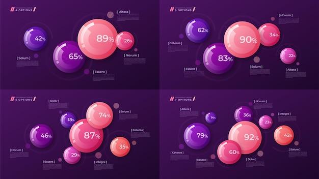 Modèle coloré pour créer des infographies, des présentations, des rapports, des visualisations. nuancier global
