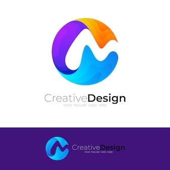 Modèle de combinaison de conception de logo c et m