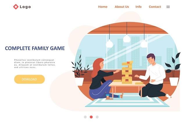 Modèle complet de page de destination de jeu familial avec une famille heureuse