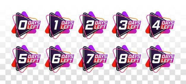 Modèle de compte à rebours du nombre de jours restants. bannière promotionnelle avec le nombre de jours restants.