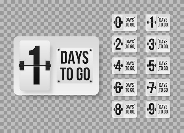 Le modèle de compte à rebours du nombre de jours restants peut être utilisé pour la promotion, la vente, la page de destination, le modèle, l'interface utilisateur, le web, l'application mobile, l'affiche, la bannière, le dépliant. bannière promotionnelle avec le nombre de jours restants.