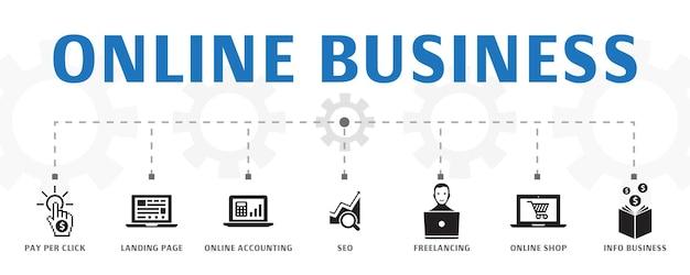 Modèle de concept de bannière d'entreprise en ligne horizontale avec des icônes simples. contient des icônes telles que le paiement par clic, la page de destination, la comptabilité en ligne, etc.