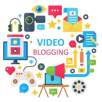 Modèle de concept de blogging vidéo