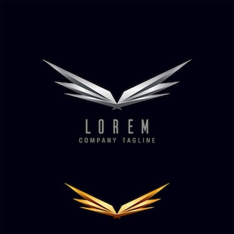 Modèle de concept de conception de logo ailes de luxe