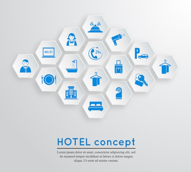 Modèle de concept d'hébergement de voyage hôtel